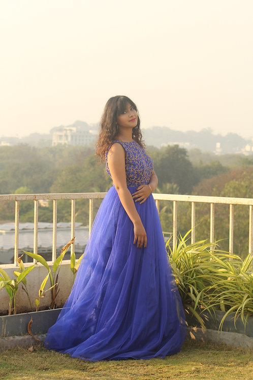 Blue Tulle Gown