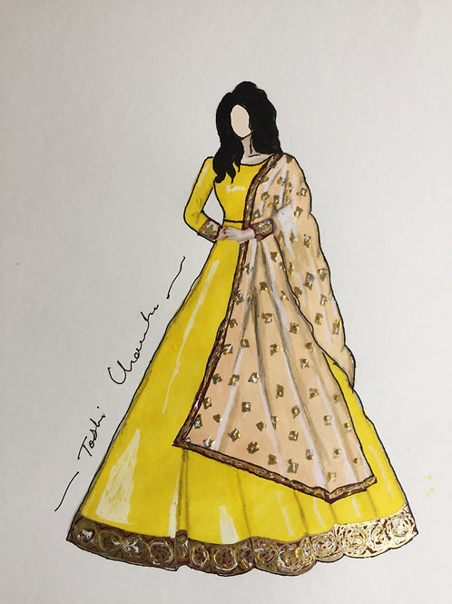 Yellow Raw Silk Traditional Gown