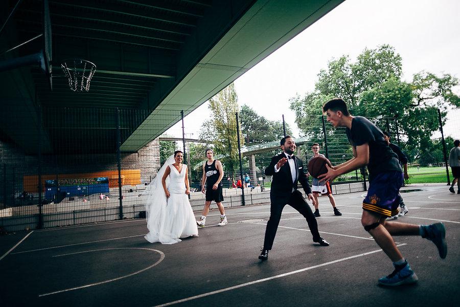 Basketballspiel bei der Hochzeit in Köln