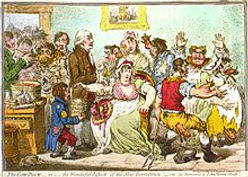 "A caricature by James Gilray, 1802, on the subject of vaccination (against smallpox) with ""The Cow-Pock""."