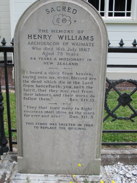 Henry Williams tombstone