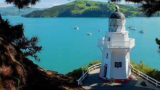 Akaroa lighthouse in Akaroa where the Akaroa Seal Colony Safari begins and ends