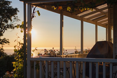 Morning sun on the Paua Bay Farmstay verandah