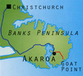 Banks Peninsula map with route from Christchurch to Akaroa to seal colony safari