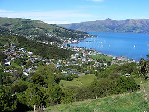 Akaroa village, Banks Peninsula, Canterbury, South Island, New Zealand starting place for Akaroa Seal Colony Safari