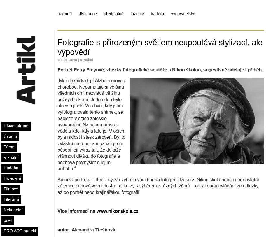 Foto v časopisu Artikl