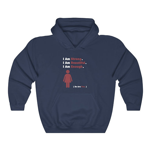 I Am Enough //  Unisex Hooded Sweatshirt  //  Red Woman