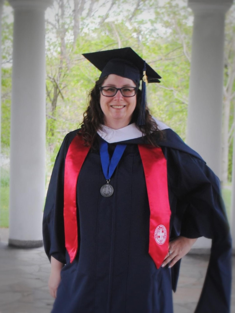 Delia M Hubbard in Master's Academic Regalia