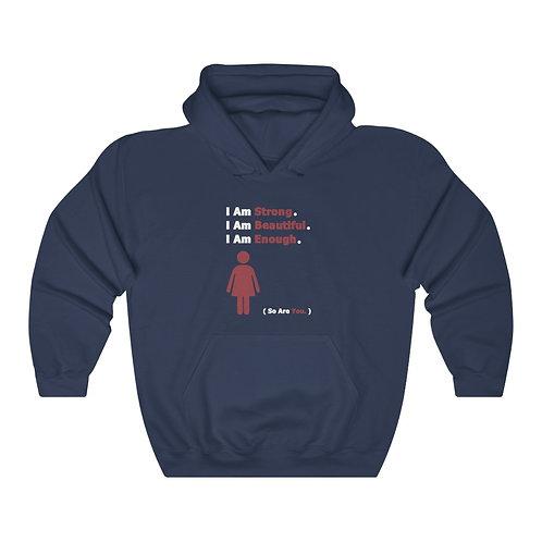 I Am Enough //  Unisex Hooded Sweatshirt  //  Red Woman