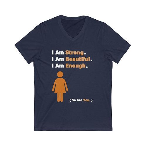 I Am Enough  //  V-Neck Tee  // Orange Woman