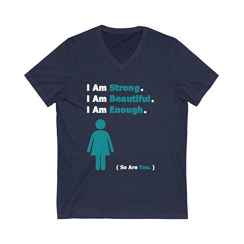 I Am Enough  //  V-Neck Tee  // Teal Woman
