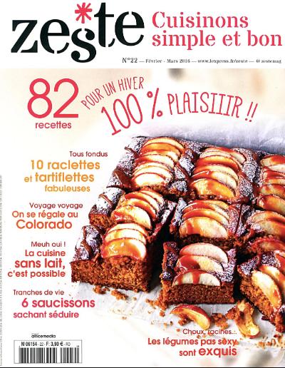 Exemple de Une de Zeste, magazine culinaire du groupe L'Express.
