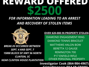 $2500 Reward Offered for Information Leading to Arrest and Recovery