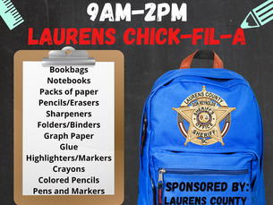 LCSO Plans School Supply Drive for August 6th