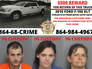 $500 Reward For Return of Stolen Truck