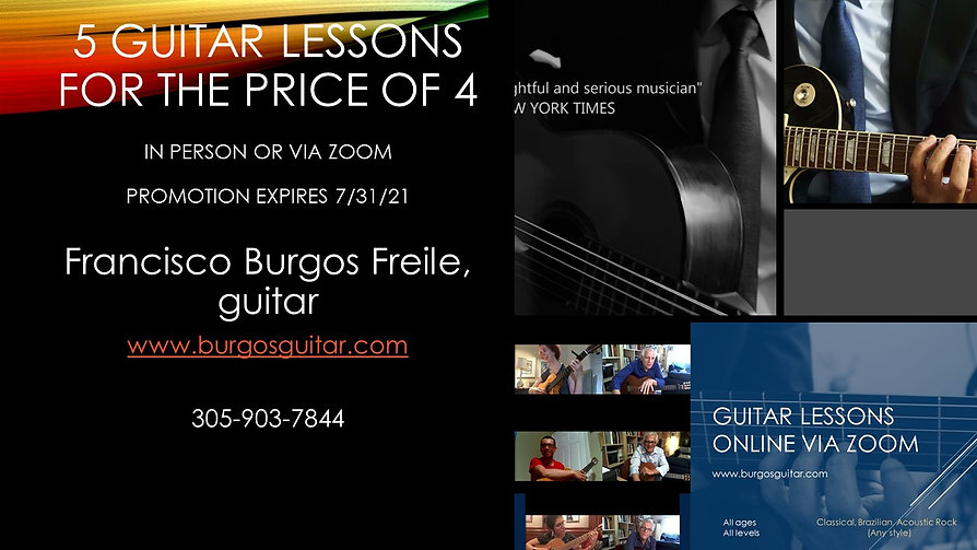 5 guitar lessons for the price of 4. Pro
