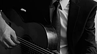 Francisco Burgos, guitar. Black and whit