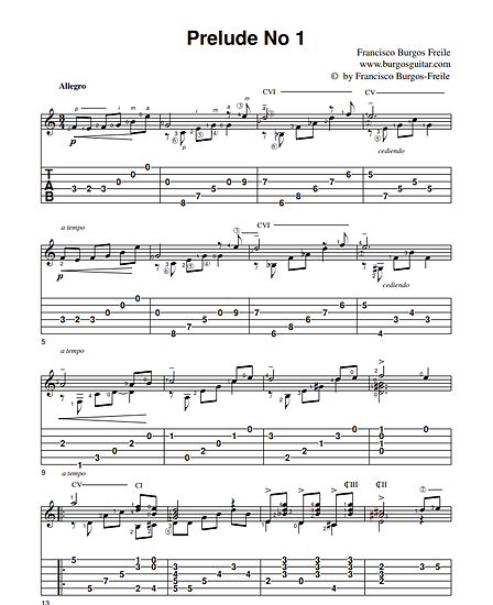 Prelude 1 by Francisco Burgos. Page 1. Music and tab.png