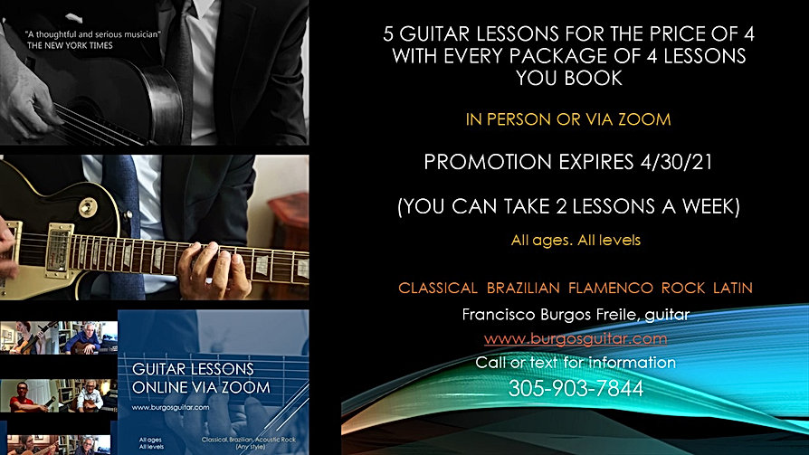 5 guitar lessons for the price of 4. Sty