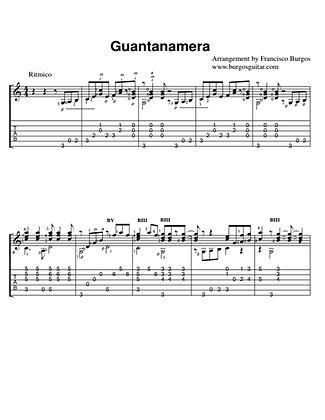 Guantanamera . 5 measures. Notation and