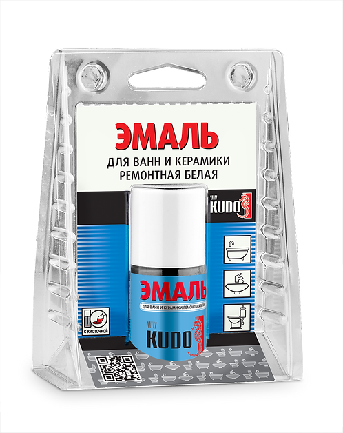 Эмаль для ванн и керамики ремонтная с кисточкой KUDO KU-7K1301 БЕЛЫЙ