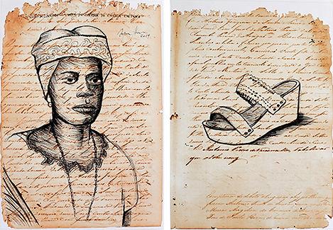 Ayrson Heráclito, 'Desenhos da liberdade - carta de liberdade da escrava Caetana', 2019