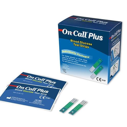 Tiras reactivas Glucosa On Call Plus. Caja de 25 tiras