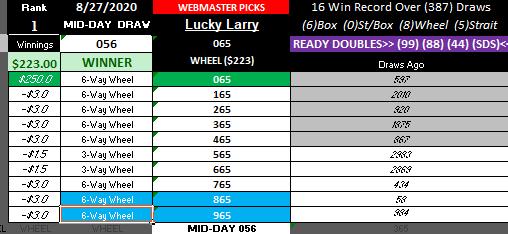 BIG #1 WM WINNER! MID-DAY 8-27-2020