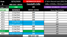 BIG WM WINNER! MID-DAY 8-31-2020