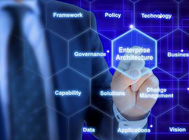 Enterprise architect pressing a tile in