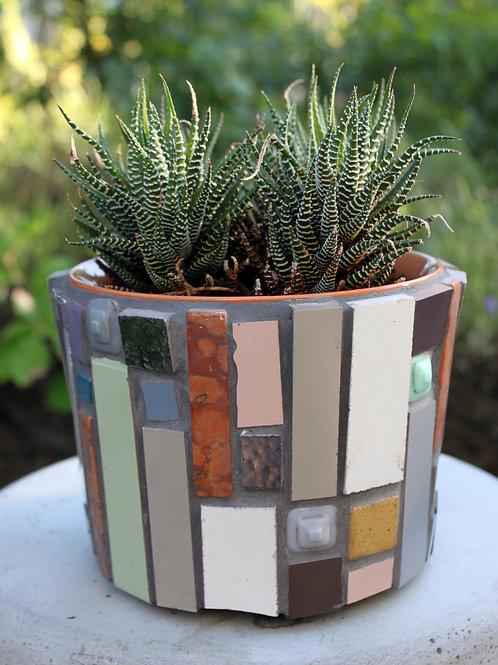 """Malý mozaikový květináč """"Mondrian na kafíčku"""""""