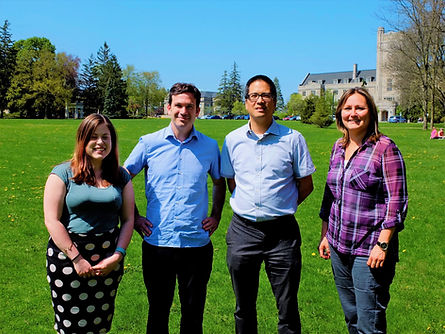 Photo of the research team. Appearing from left to right: Bethany Lipka (Project Coordinator), Professor Brady Deaton (Primary Investigator), Professor Christopher Alcantara (Co-Applicant) and Professor Sheri Longboat (Co-Applicant).