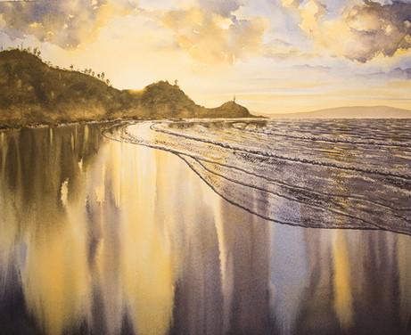 Wategos Sunset 31cm x 54cm. SOLD