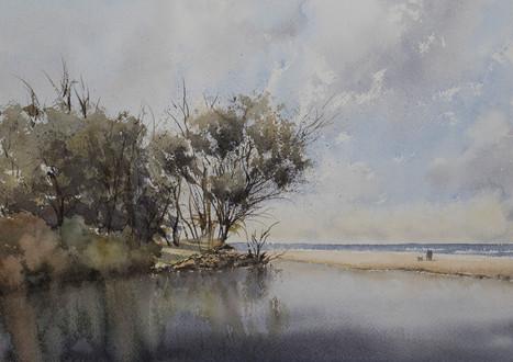 Tallow Estuary Stillness 21cm x 31cm. SOLD