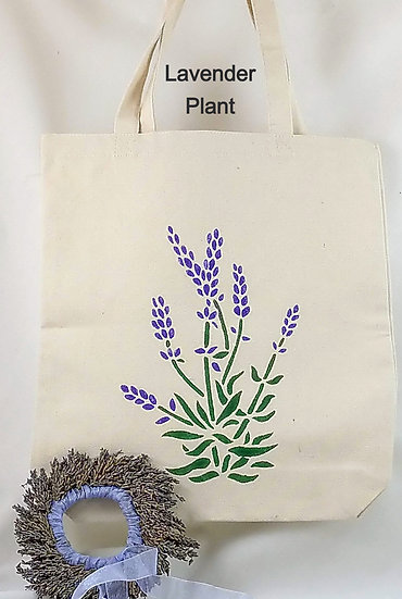 Canvas Totes Stenciled with Lavender