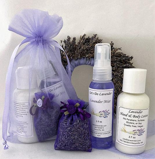 2 oz Gift Set-Lavender Mist or Bath Salt Mix, Lotion & Sachet