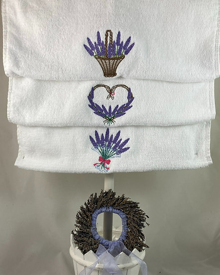 Hand Towel Embroidered with Lavender