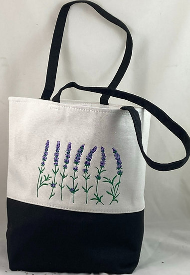 Tote Embroidered with Lavender