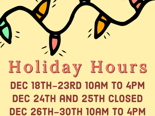 New Holiday Hours!