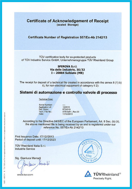 ATEX 94_9_EC Certificate of Automation S