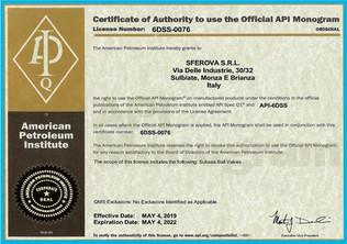 API 6DSS Monogram Certificate 6DSS-0076.