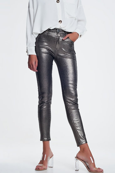 Women's Silver Trousers With Snake Print