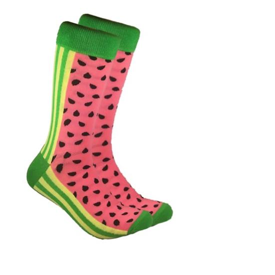 Men's Water Melon Print Socks in 80% Combed Cotton 15% Nylon 5% Spandex