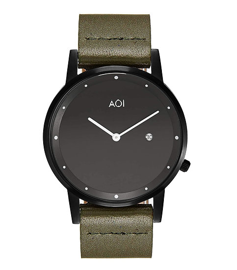 Womens OKAYAMA | 1.1 Watch in Black With Premium Leather Band in Olive