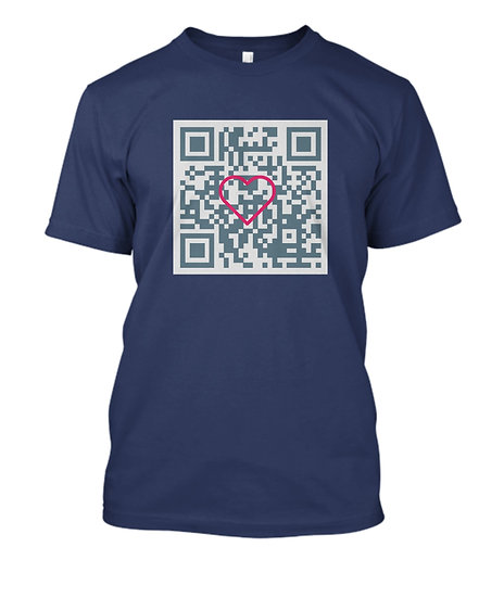 Men's Short Sleeve Tee QFR Coded - I Love You!! 2 in Dark Blue