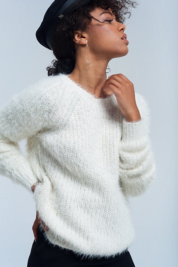 Womens Cream Knit Sweater