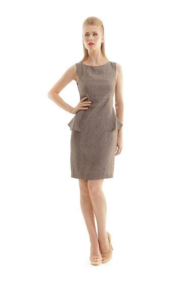Women's Woven Linen Peplum Dress