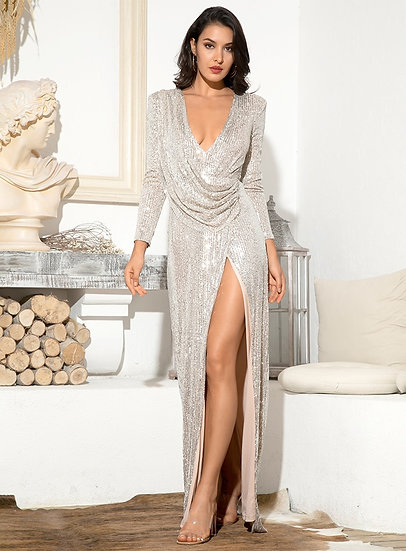 Women's Silver Sequin Red Carpet Gown Cocktail Wear