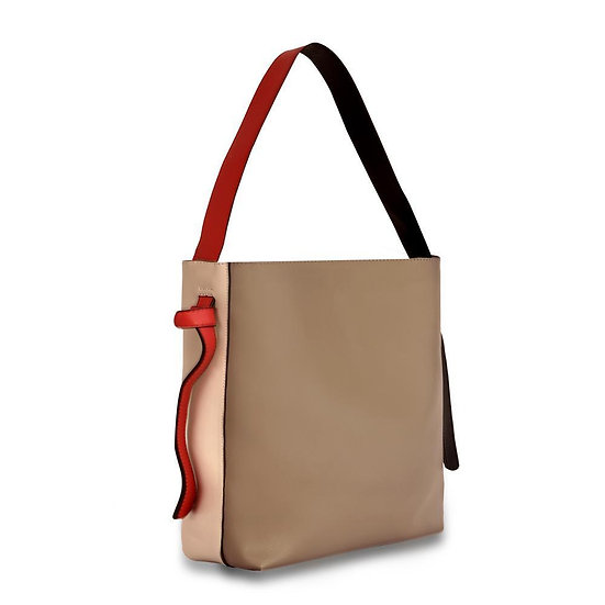 Women's Versa Leather Tote - Grey/Red With Wide Shoulder Strap