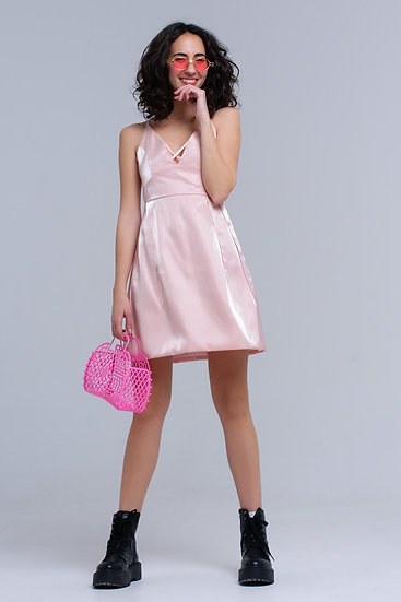 Pink Dress With Crossed Ribbons